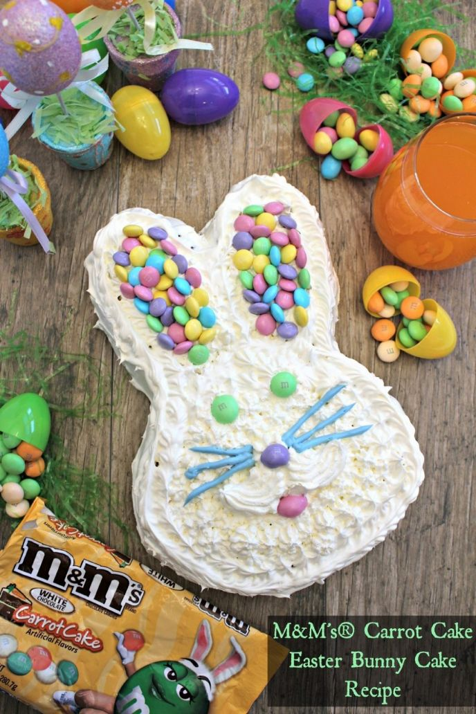 Easter Bunny Shaped Carrot Cake with M&Ms. Easy to make using cake mix and perfect for Easter celebrations!