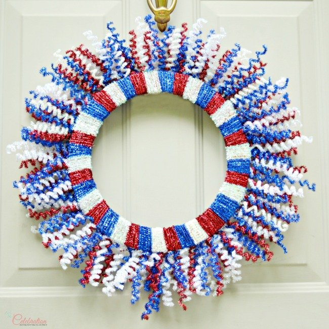 DIY Patriotic Fireworks Door Wreath