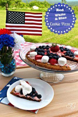 Red, White and Blue Cookie Pizza