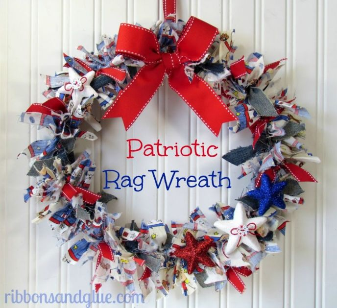 DIY Patriotic Door Rag Wreath