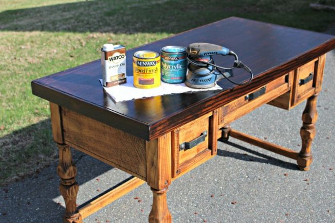 Thrift Shop Desk Finished with WATCO Danish Oil and Minwax Stain
