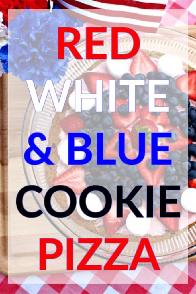 Red, White, and Blue Dessert Cookie Pizza Grilled On The BBQ, Topped with Berries and Whipped Topping