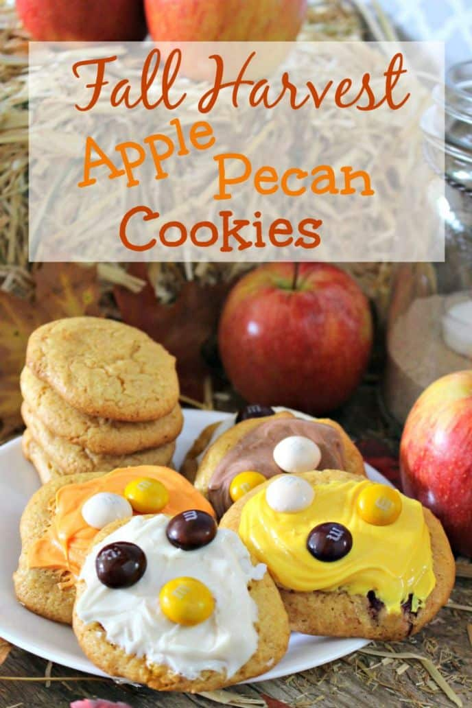Delicious and EASY Fall Harvest Apple Pecan Cookies Recipe! Click to find out how easy these cookies are to make!