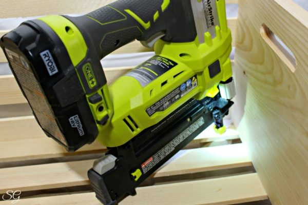 RYOBI Brad Nailer Attaching Cat Bed Feet