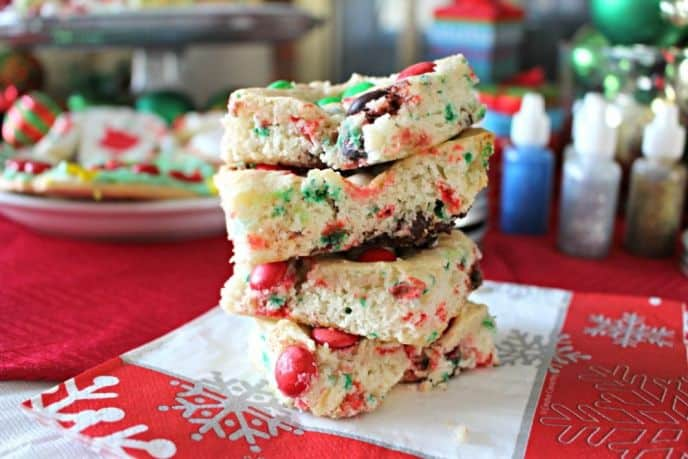 Christmas M&M's® Holiday Cake Bars