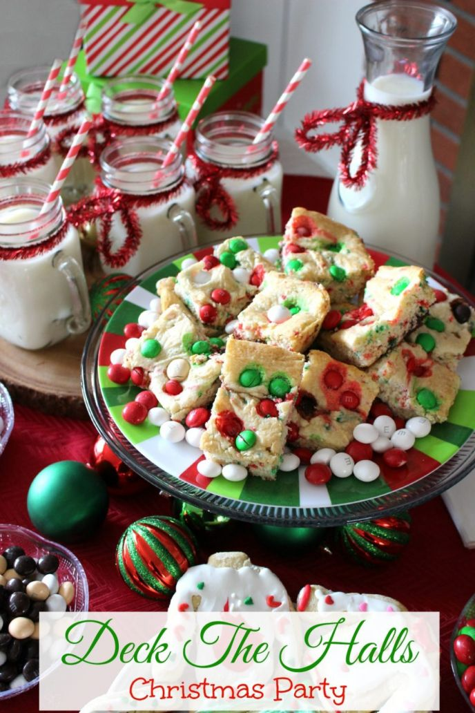 Deck The Halls Christmas Party! Throw a fun Christmas party with an ornament decorating station and of course sweet treats like these M&M's® Holiday Cake Bars! #BakeInTheFun #SweetSquad