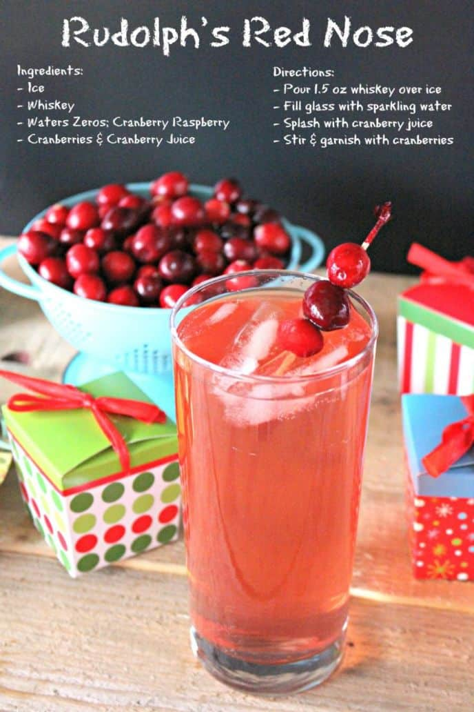 Rudolph's Red Nose: Whiskey Holiday Drink! This drink is perfect to share at holiday parties. Click to print the EASY recipe!