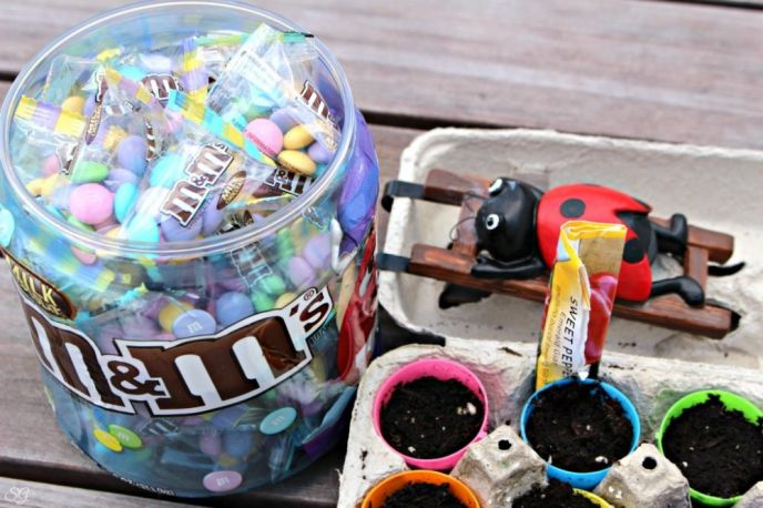 Easter Egg Hunt with M&M's® and Reusing Plastic Eggs for Planting Seeds