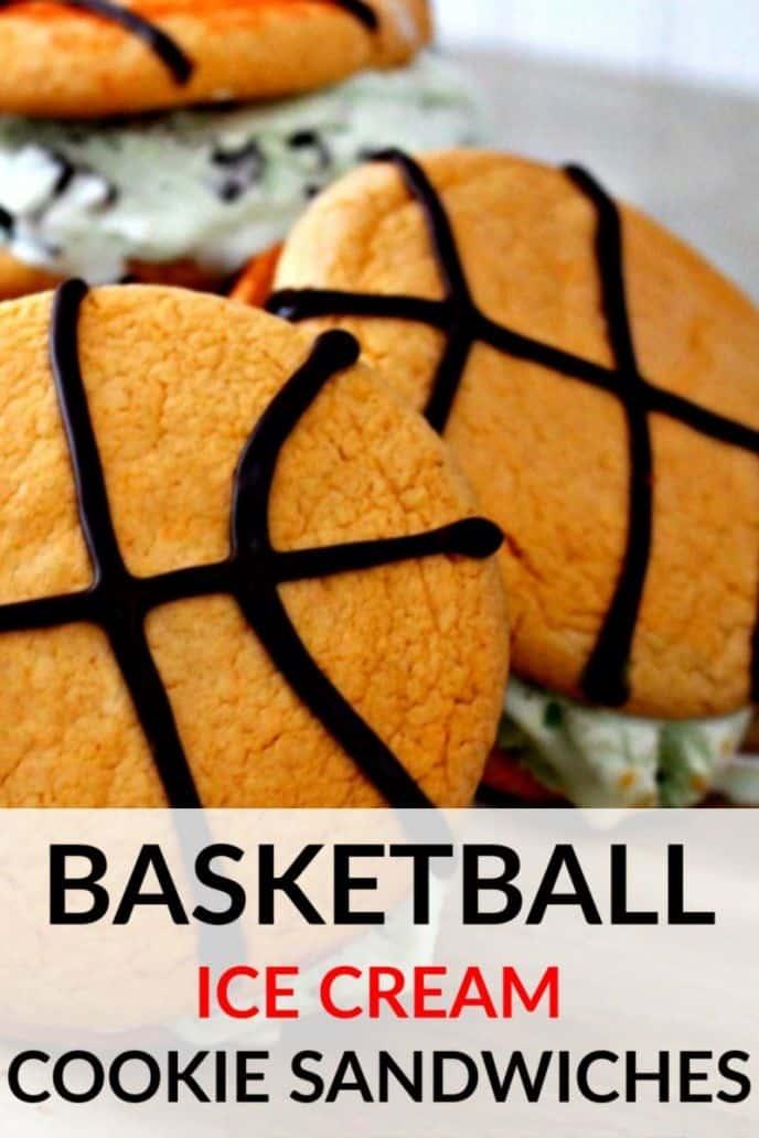 Basketball ice cream cookie sandwich recipe, easy basketball themed desserts.
