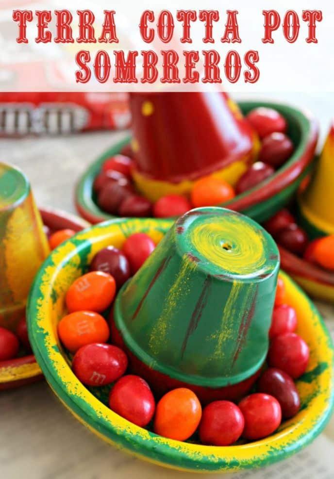 Terra Cotta Pot Clay Sombrero Hats! Learn how to make these EASY DIY terra cotta pot sombrero Cinco de Mayo crafts!