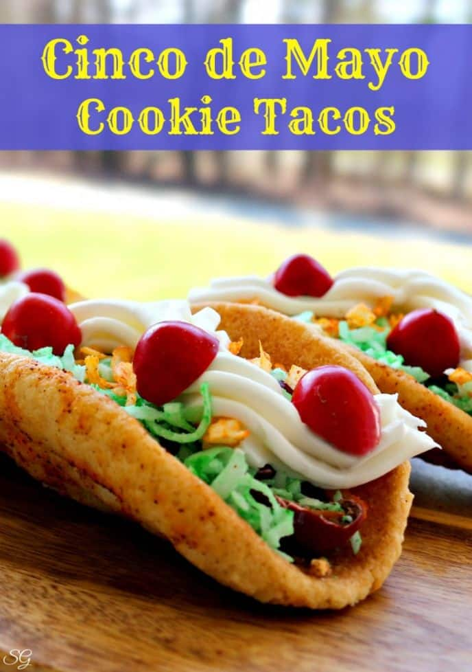 Dessert Taco Cookies for Cinco de Mayo! Celebrate the 5th of May with these EASY to make, spicy cookie tacos!
