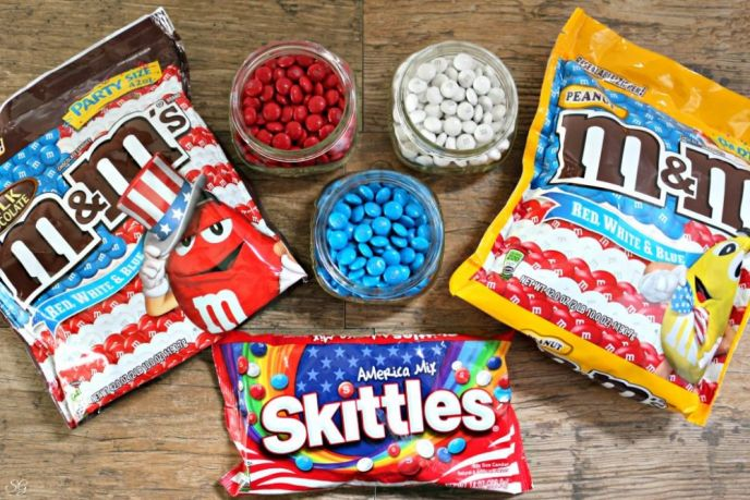America Mix Skittles and Red, White and Blue M&M's Candies