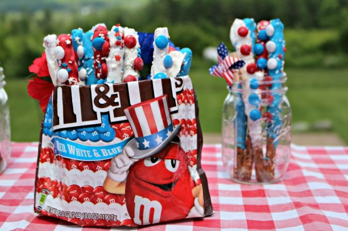 Patriotic Red, White and Blue Pretzel Dessert