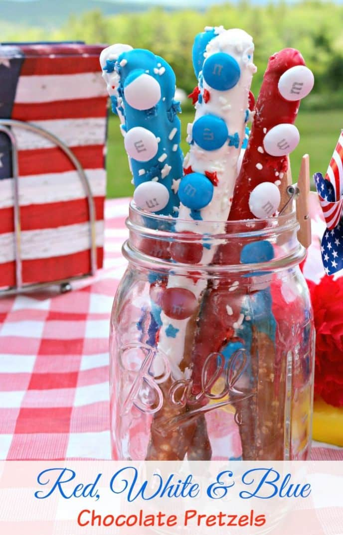 Red, White and Blue Dessert Pretzel Dessert