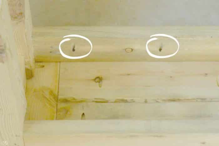 Drilling pocket holes in the wood frame