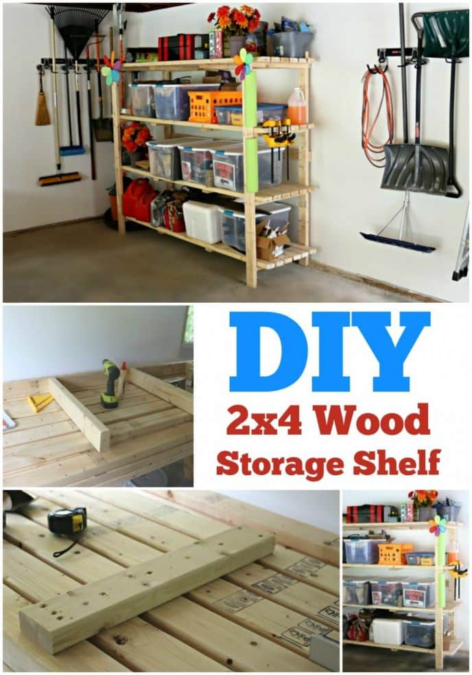 2x4 DIY Wood Storage Shelf