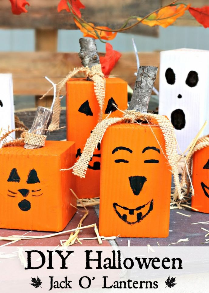 Easy wood pumpkin crafts. Easily make jack o' lanterns for Halloween or make fall pumpkins from blocks of wood. Learn how to make wood jack o lanterns here.