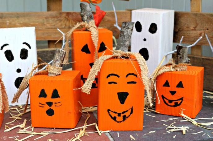 Wood Halloween Jack O Lanterns