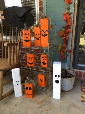 Wood Halloween Jack O' Lantern Craft Project