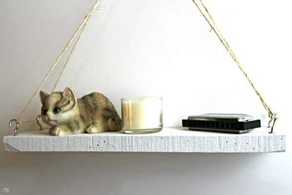 DIY hanging wood shelf project
