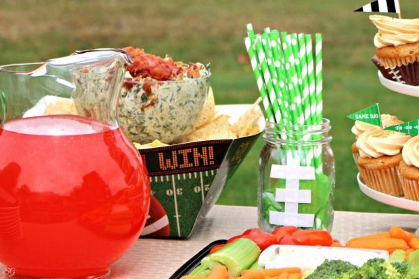 Football Mason Jar Party Decor