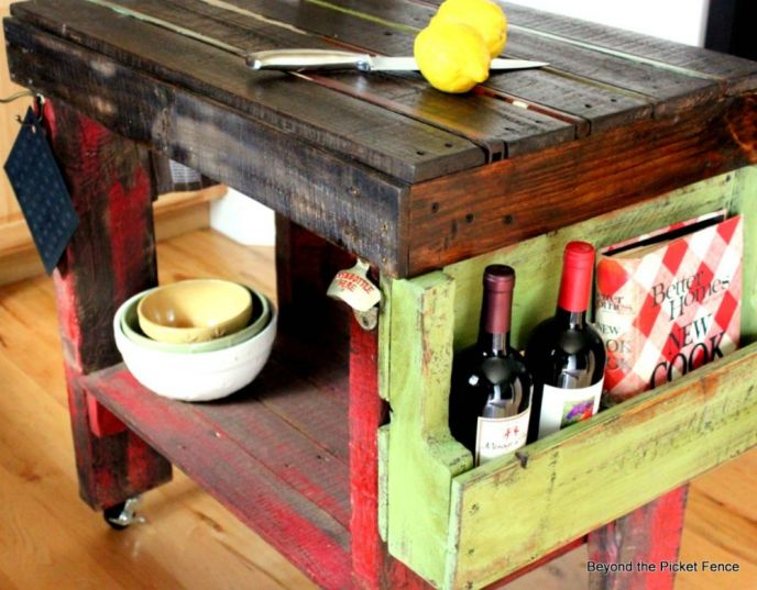 DIY Pallet Wood Kitchen Island Cart