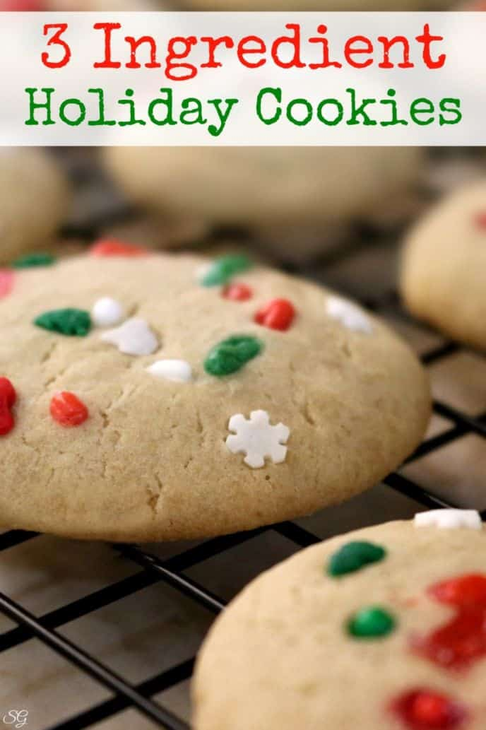 Easy three ingredient brown sugar holiday cookies with fun holiday sprinkles on top!