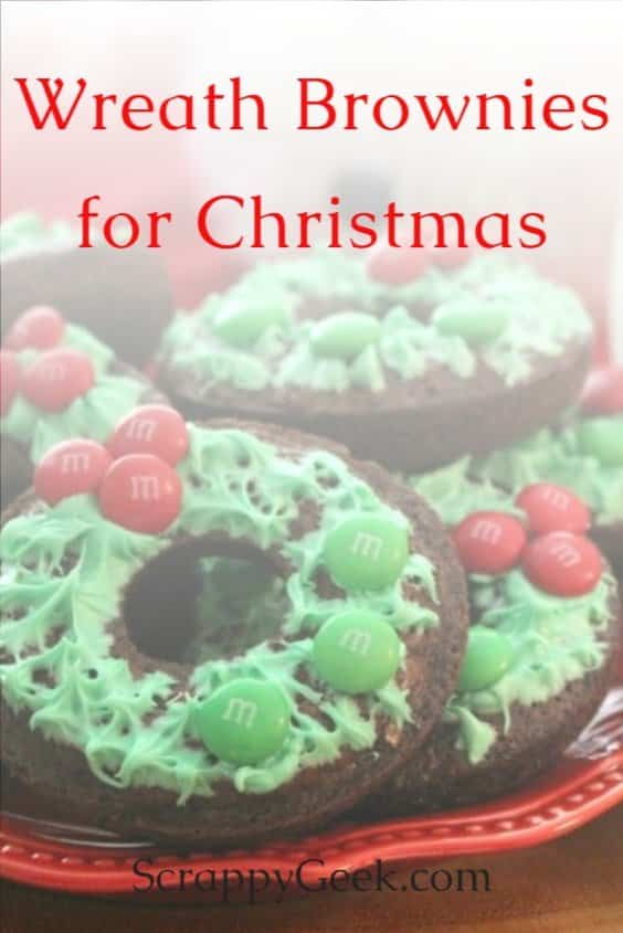 Wreath brownies recipe with frosting and M&M's to make them look like holiday wreaths