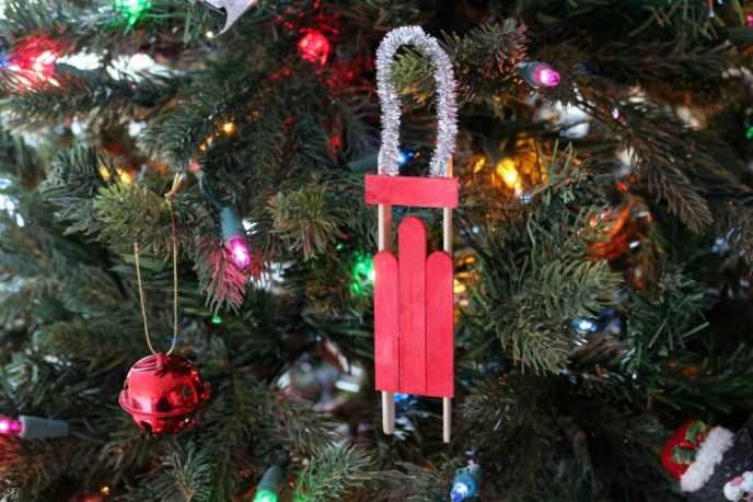 Easy DIY Wooden Sled Christmas Tree Ornament