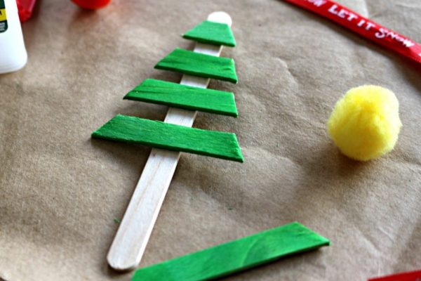 DIY Popsicle Stick Christmas Tree Ornament