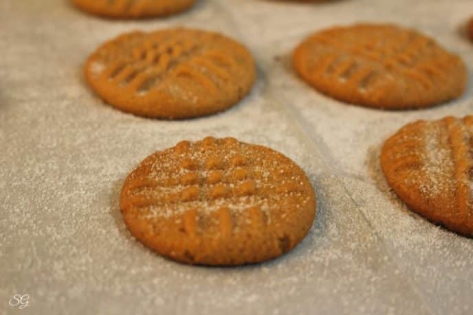 Baked 3 ingredient peanut butter cookies with sugar on top