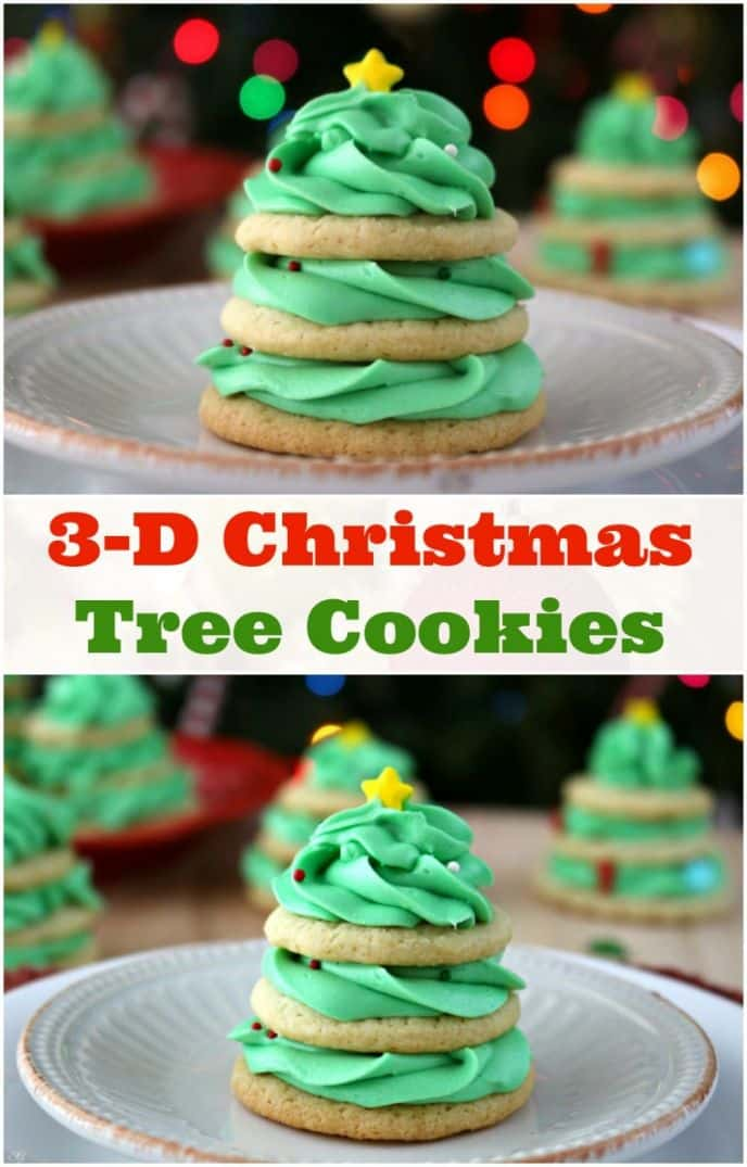 Christmas Tree Stacked Cookies with Buttercream Frosting! Check out this EASY stacked Christmas tree cookie recipe and buttercream recipe! Make Xmas trees this year for your holiday party or just for fun! Great holiday activity for the whole family. #christmas #christmastree #cookie #cookies #recipe