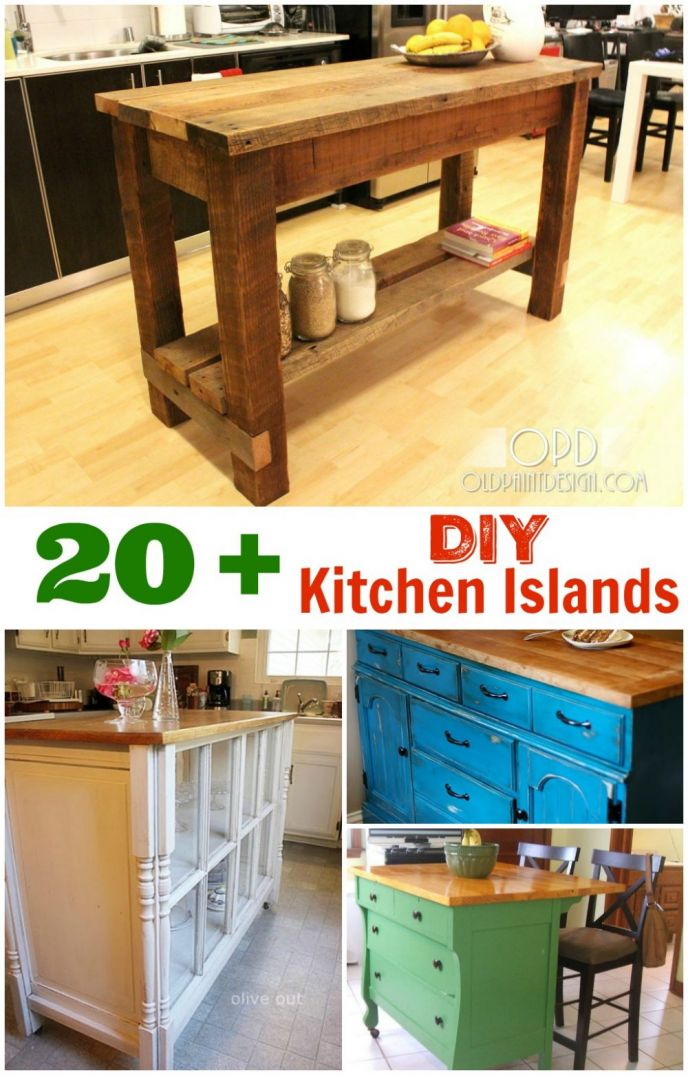 DIY Kitchen Islands. These kitchen island DIY projects are great inspiration to draw from. Build your own DIY kitchen island easily when you use these tips, tricks and ideas!