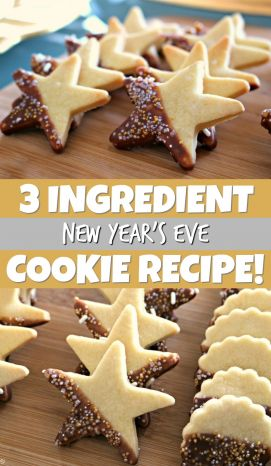 New Year's Eve Cookies! Easy 3 ingredient New Year butter cookies for New Year's eve parties! Great New Year's eve cookies for kids! Check out these New Years Eve Cookies decorated with a simple icing and sprinkles! #newyearseve #newyears #newyear #cookies #cookierecipe #recipe #easyrecipe #newyearscookies #kidscookies #buttercookies