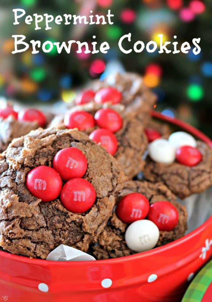 Peppermint brownie cookies recipe! This EASY recipe uses box brownie mix to make delicious peppermint brownie cookies with M&M's® White Peppermint candies! #SweetSquad