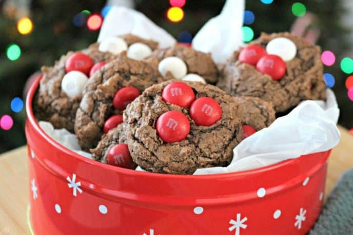 Box Brownie Mix Cookies with M&M's for Christmas