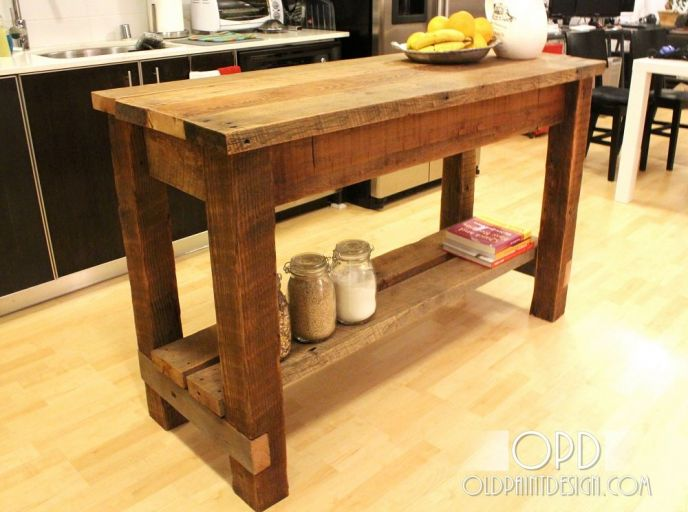 DIY Kitchen Island with Upcycled Reused Wood