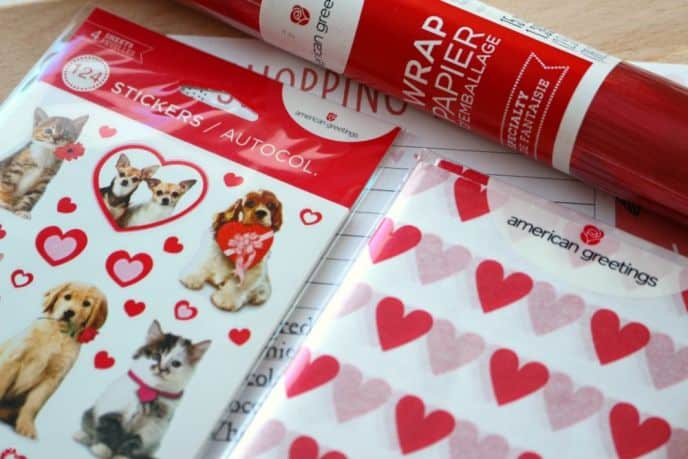 American Greetings Valentine's Day Stickers, Tissue Paper and Wrapping Paper.