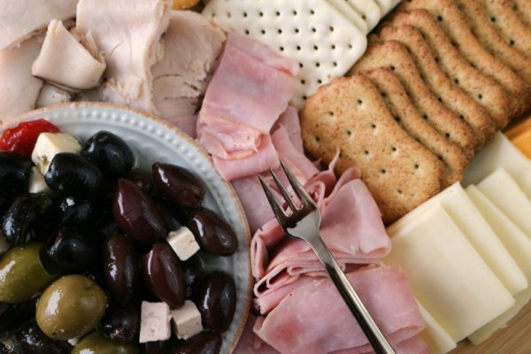 Easy Antipasto Board with Deli Meats, Cheese, Crackers and Olives