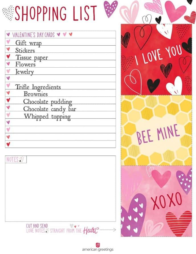 Valentine's Day Printable Shopping List