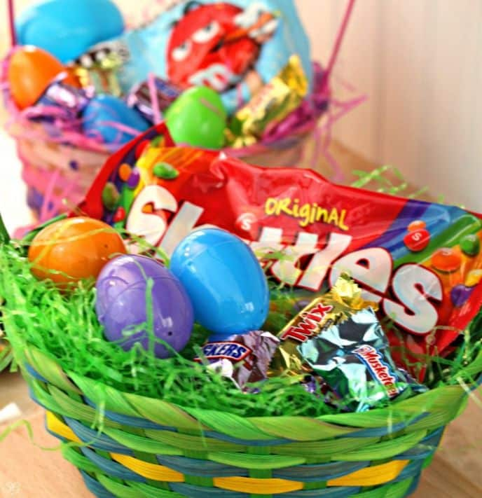 Easter basket snacks skittles mms snickers twix 3 musketeers easter basket candy negle Image collections