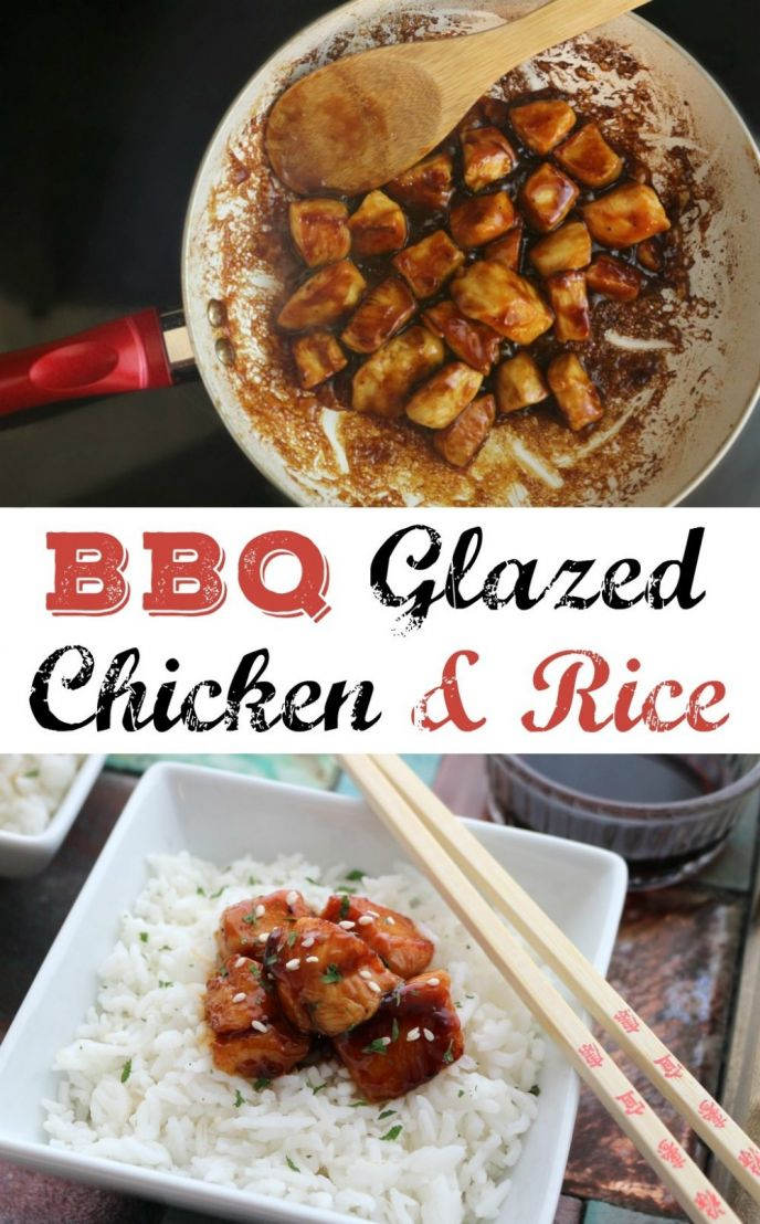 Easy BBQ Glazed Chicken and Rice Recipe! Check out this simple barbecue glazed chicken and easy rice dinner recipe!