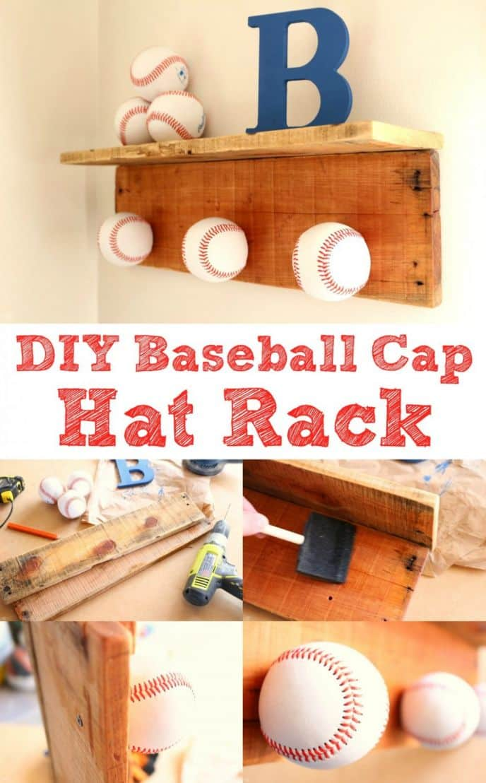 DIY Baseball Cap Hat Rack! Make this EASY baseball cap hat rack with just a few materials. Click to get the free tutorial, and I'll show you exactly how I made it!