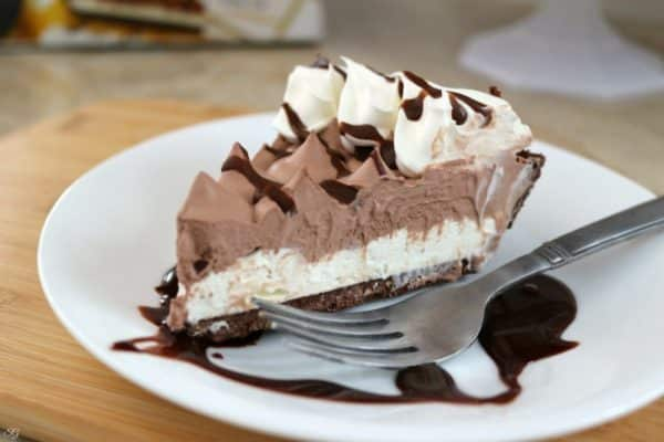 A slice of Hershey's Chocolate Creme Pie