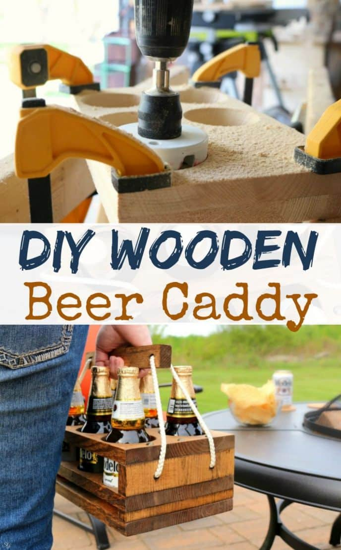 DIY Beer Caddy! Learn how to build this DIY wooden beer holder. Perfect for a six pack of Modelo Especial! Click to make it now!
