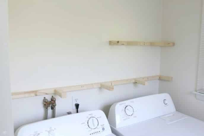 Installing Floating Shelves in Laundry Room