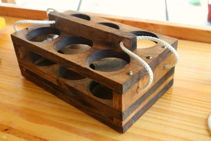 Assembled wooden beer caddy