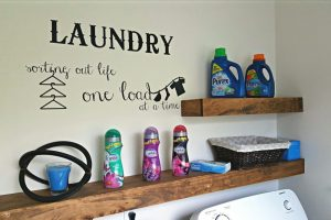 DIY Floating Shelves for Laundry Room