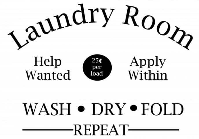 Help Wanted Apply Within Laundry Room Decal