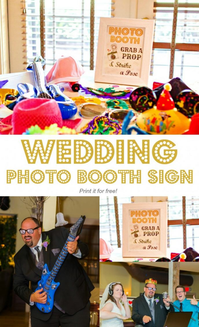 Free printable wedding photo booth sign! I made this sign for our wedding and I'm sharing it with you. Print your free wedding photo booth sign now!